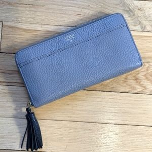 NWT Fossil Tara Clutch Wallet Leather Tassel Grey